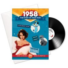 60th Anniversary or Birthday gifts ~ Booklet , Music & Card; 1958 in one present
