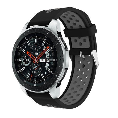 Samsung Galaxy Watch 46mm breathable silicone replacement bracelet - Black/ Grey
