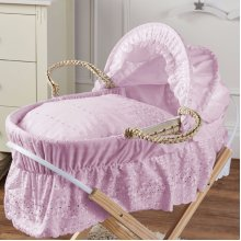 Broderie Anglaise Moses Basket Pink