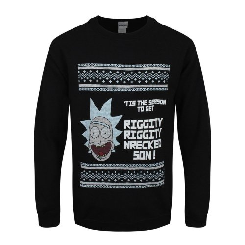 Cid Men's Rick & Morty-t'is The Season Sweatshirt, Black, Small - Morty Tis -  rick morty tis season mens black christmas sweater