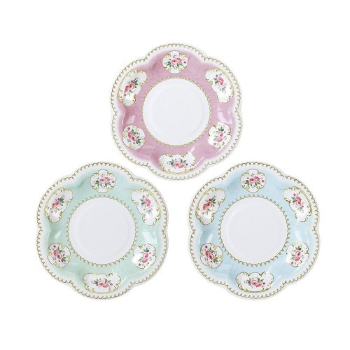 Truly Chintz Extra Small Canape Paper Plates Pack of 12 Vintage Floral Tea Party