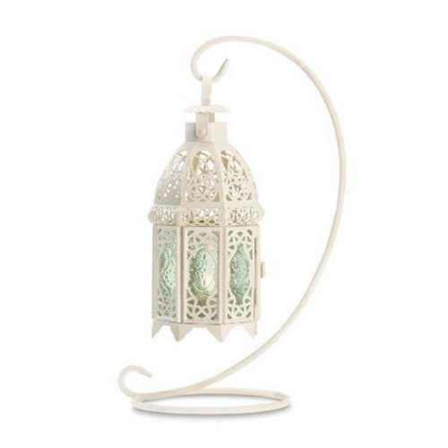 Zingz & Thingz 57070941 White Fancy Candle Lantern with stand