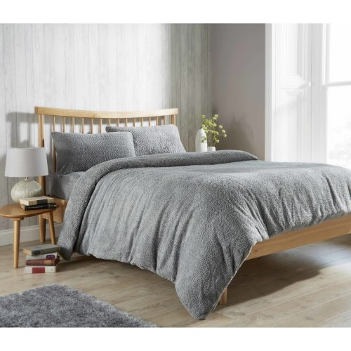 Teddy Fleece Duvet Cover With Pillow Cases - Grey