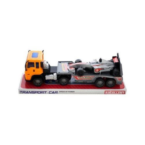 Kole Imports KL243-4 11 x 2.87 in. Friction Powered Trailer Truck with Race Car, Pack of 4