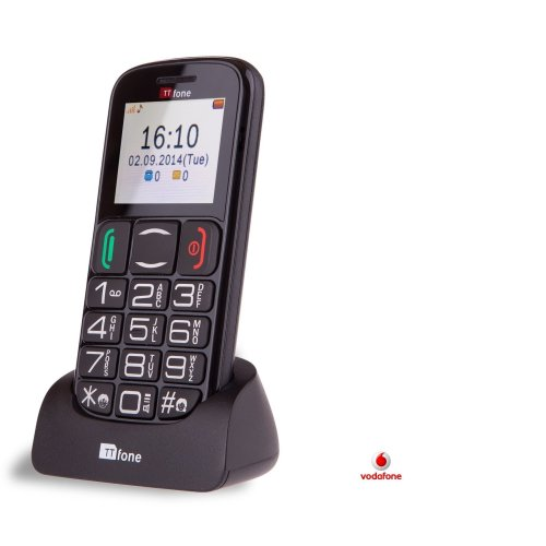 TTfone Mercury 2 (TT200)  Vodafone Pay As You Go - Prepay - PAYG - Big Button Basic Senior Mobile Phone - Simple - with Dock - Black