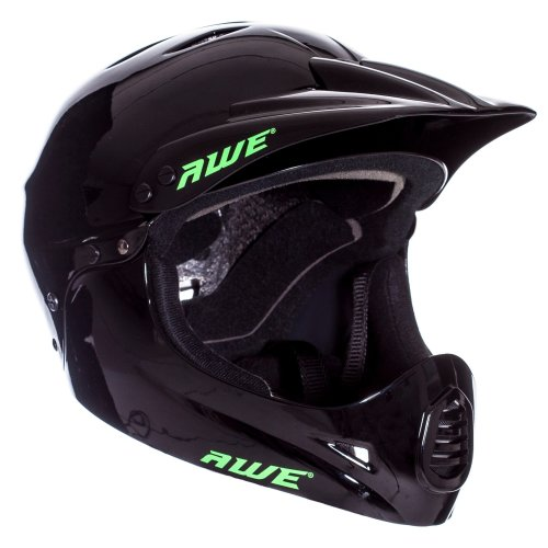 AWE FREE 5 YEAR CRASH REPLACEMENT* BMX Full Face Helmet Black Medium 54-58cm