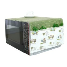 Pastoral Style Microwave Oven Dustproof Cover Dust Cover with Pockets Dot Green