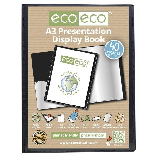 1 x A3 Recycled 40 Pocket(80 Views) Presentation Display Book - Black