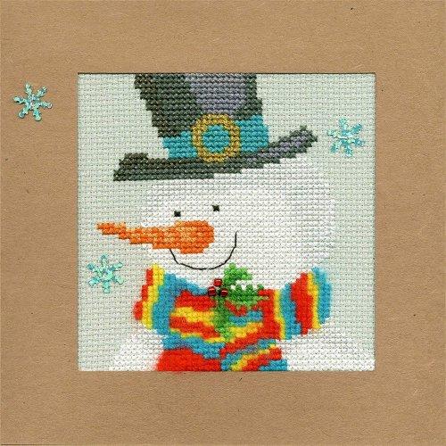 Bothy Threads Cross Stitch Kit - Christmas cards :   Snowy Man XMAS17