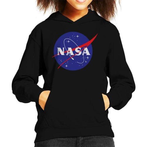 (X-Large (12-13 yrs), Black) The NASA Classic Insignia Kid's Hooded Sweatshirt