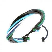 Urban Male Surfer Style Black Leather Cord & Colour Strand Bracelet