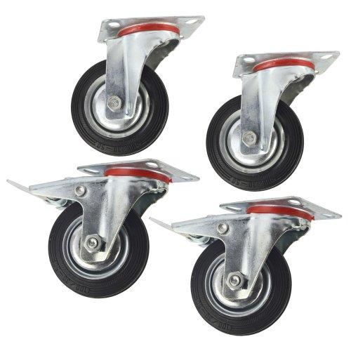 "4"" (100mm) Rubber Swivel and Swivel With Brake Castor Wheel (4Pack) CST04_05"