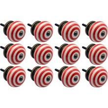 Light Red Ceramic Door Knobs Cabinet Drawer Handle Set Stripe Design x12