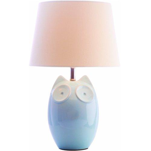 Village at Home Ceramic Blue Owl Children's Table / Bedside Lamp