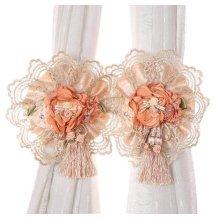 1 Pair Elegant Lace Flowers Curtain Tiebacks Buckles Holdbacks Beige