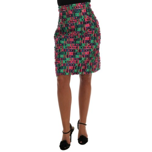 Dolce & Gabbana Pink Green Jacquard Pencil Skirt