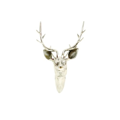 Libra Aluminium Deer Head Antlers Wall Mounted Sculpture Interior Design 46cm