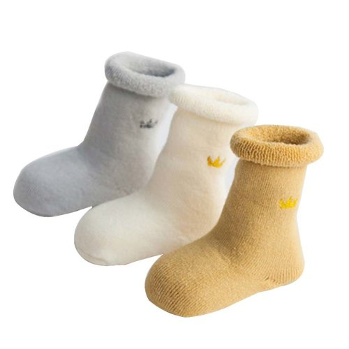3 Pairs Baby Winter Socks Thick Terry Socks Warm Cotton Socks [A-2]