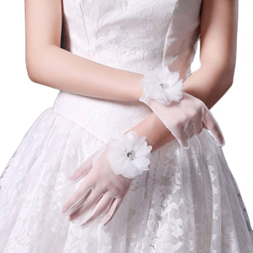 Bridal Wedding Gloves Party Dress Lace Short Gloves B07