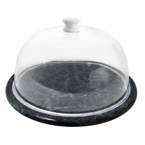 Green Marble Cheese Board With Clear Dome Lid