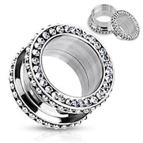Multi Clear Crystal Encrusted and Beaded Looped Side Surgical Steel Double Flared Flesh Tunnel Ear Saddle Plug Earring