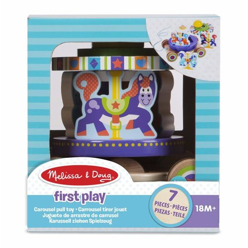 Melissa & Doug 13616 First Spinning Carousel Wooden Pull Toy with Removable Play