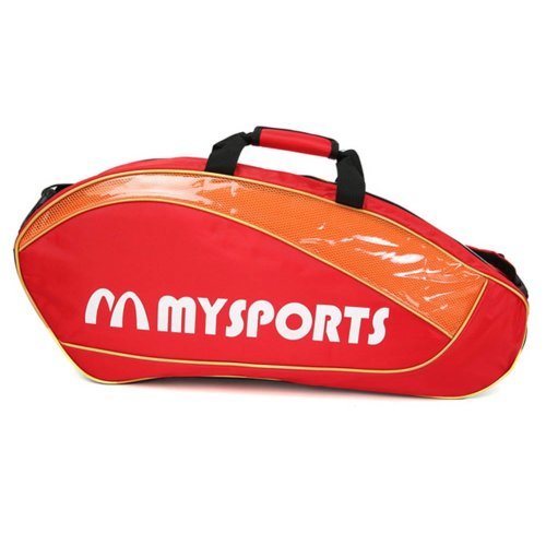 Adjustable Shoulder Strap Badminton Racket Cover Badminton Racket Bag Tennis Bag (3 Racquet) , Red