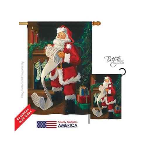 Breeze Decor 14088 Christmas Santas List 2-Sided Vertical Impression House Flag - 28 x 40 in.