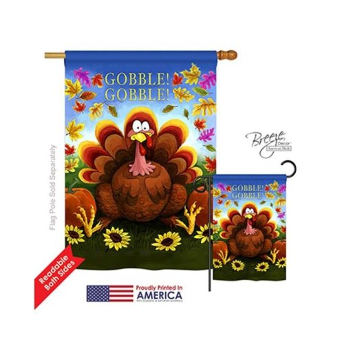 Breeze Decor 13051 Thanksgiving Gobble 2-Sided Vertical Impression House Flag - 28 x 40 in.
