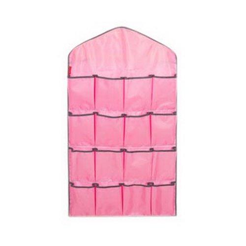 16-Pocket Wardrobe Underwear Organizer Closet Socks Larger Wall Hanging Bag Pink