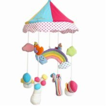 Rainbow Lovely Newborn Infant Crib Decor Mobile Baby Take Along Musical Bed Bell