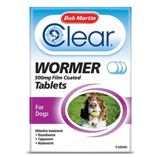 (Large Dog, Single) Bob Martin Clear Wormer Tablets For Dogs