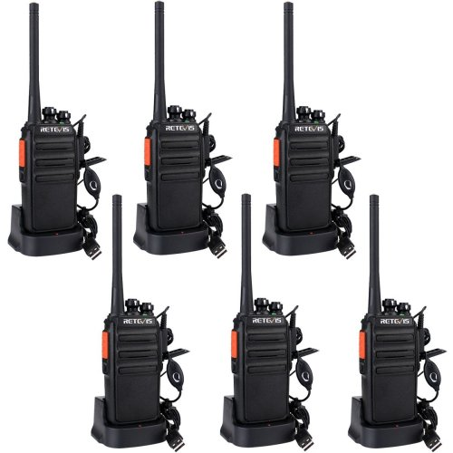 Retevis RT24 Walkie Talkies PMR446 Licence-Free Two Way Radio Rechargeable 16 Channels 50CTCSS 210DCS with USB Chargers (Black, 3 Pairs)