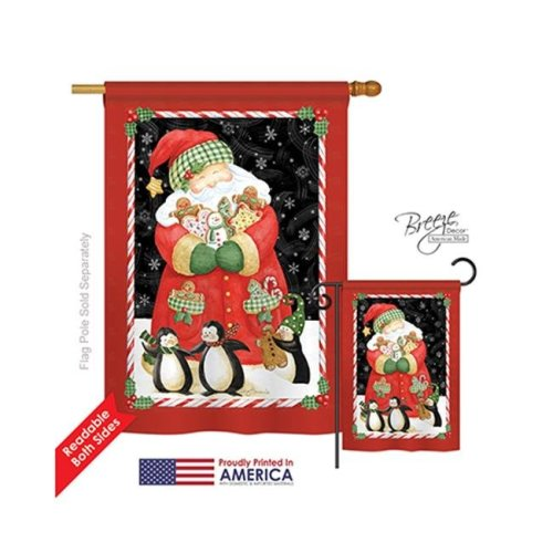 Breeze Decor 14105 Christmas Santa & Cookies 2-Sided Vertical Impression House Flag - 28 x 40 in.