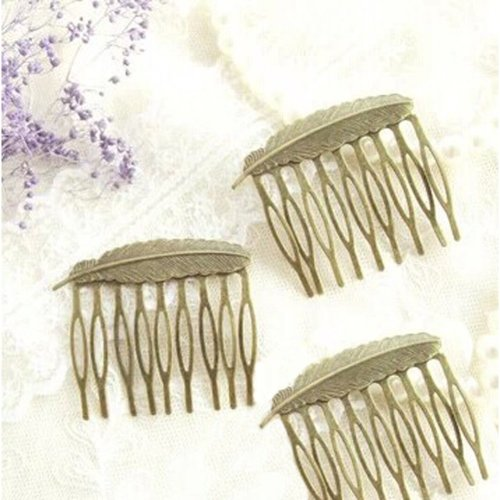 Set Of 3 Retro Exquisite Feather Mini Bronze Combs Accessory (5.2x5.1CM)
