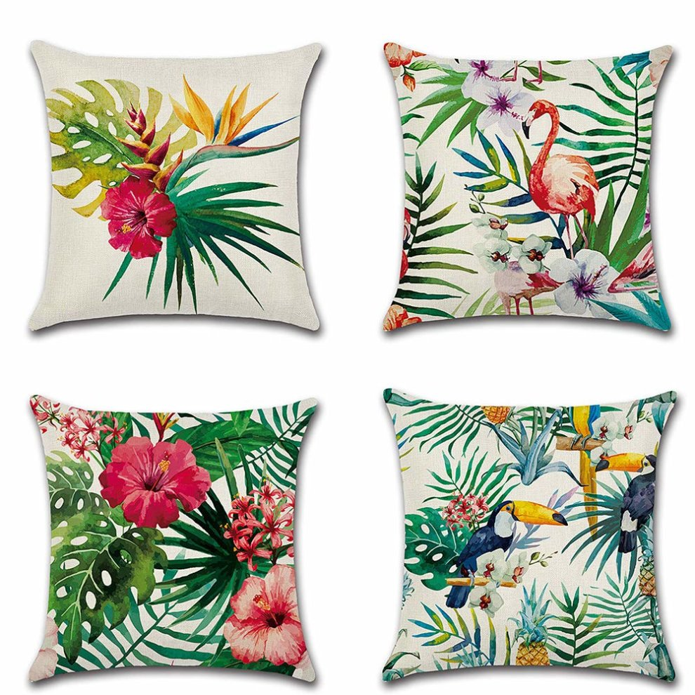 Huifengs linen throw cushion pillow covers square pillowcase tropical rain forest plant botany decorative for sofas