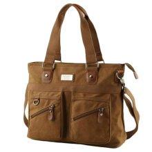 Fashion Postman Bag Vintage Canvas Bag Messenger Bag Shoulder Bag For Men, Coffee