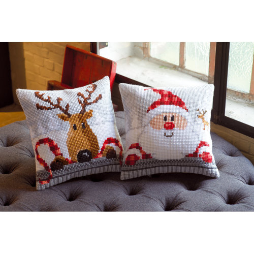 """Reindeer With A Red Scarf I Cushion Cross Stitch Kit-16""""X16"""""""