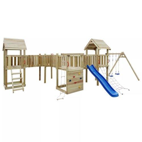 vidaXL Playhouse Set with Slide, Ladders and Swings 800x615x294cm Wood