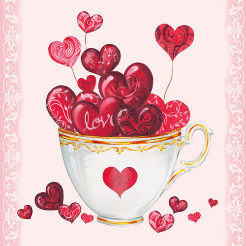 Ambiente 3 Ply Paper Napkins, Cup of Hearts
