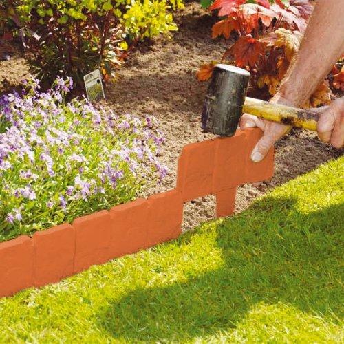 20pc Parkland Terracotta Garden Edging Set | Stone-Effect Garden Border