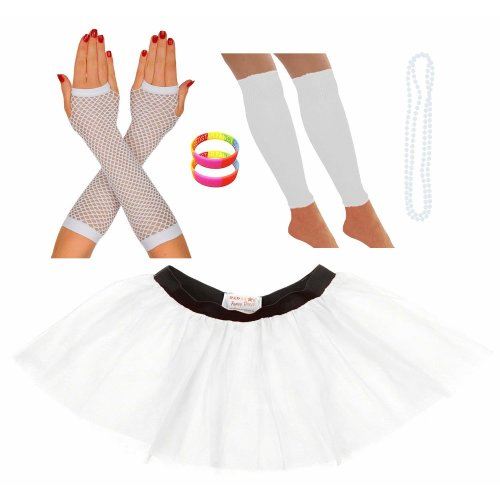 Neon Tutu Skirt Leg Warmers Fishnet Gloves Necklace