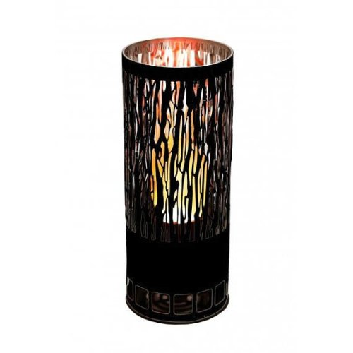 Silk Flame Effect Lamp - Round VINE BRAZIER in black
