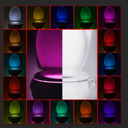 16 Colors Changing Toilet Lights Motion Activated Night Lights Squatting Toilet LED Lamps