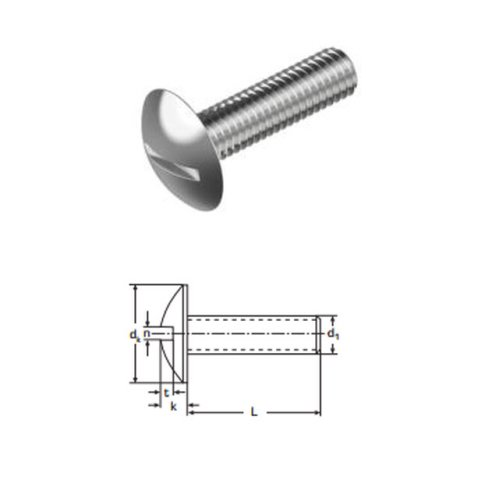 Mushroom Head Slotted Screws M8 x 60 mm A2 (T304) Stainless Steel
