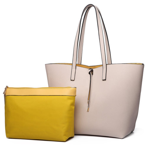 Miss Lulu Women Reversible Handbag Leather Shoulder Bag Tote 2pcs