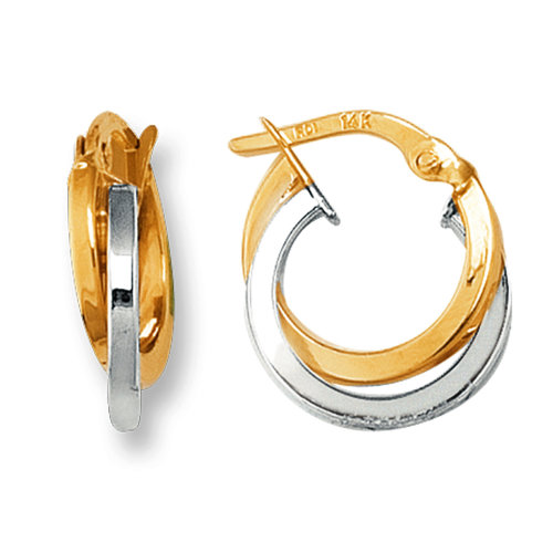 d3a751b96bf38 14K Yellow And White Gold Two Tone Double Row Hoop Earrings, Diameter 12mm