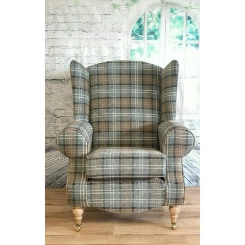 Queen Anne Wing Back Cottage Chair - Lana Duck Egg Blue Tartan Fabric