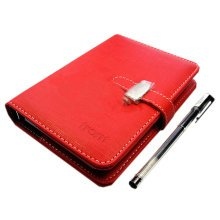 Simple Leather Covering Notebook, Business Malfunction Notebook, Red, 4*5.71""