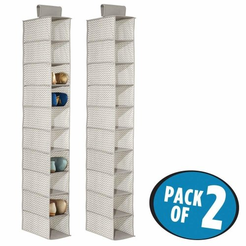 mDesign Set of 2 Hanging Shoe Rack - Wardrobe Storage Solutions - Hanging Shoe Storage with 10 Compartments - Taupe/Natural